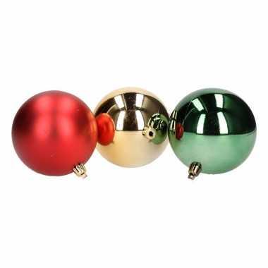 10- delige kerstballen set rood/groen 8 cm
