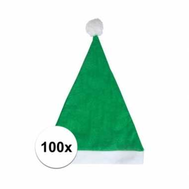 100x groene budget kerstmuts voor volwassenen
