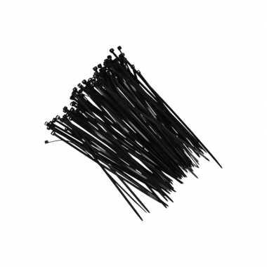 100x kerstdecoratie ophang/bevestiging materiaal tiewraps zwart