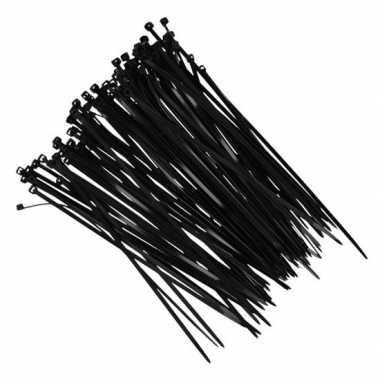 100x kerstlampjes ophang/bevestiging materiaal tiewraps zwart