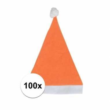 100x oranje budget kerstmuts voor volwassenen