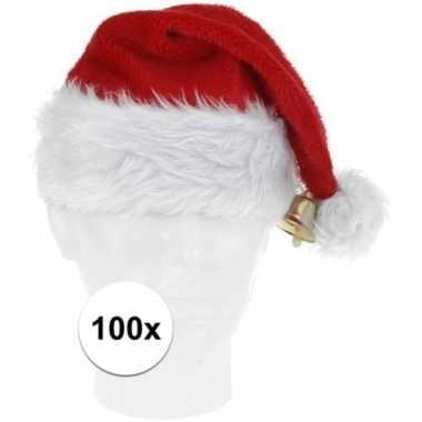 100x pluche kerstmutsen met bel deluxe