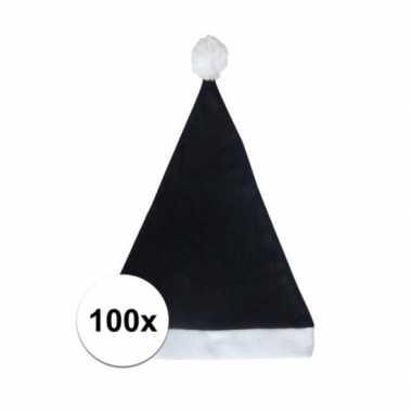 100x zwarte budget kerstmuts voor volwassenen