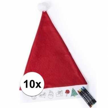 10x hobby kerstmutsen inkleurbaar met waskrijtjes voor jongens/meisje
