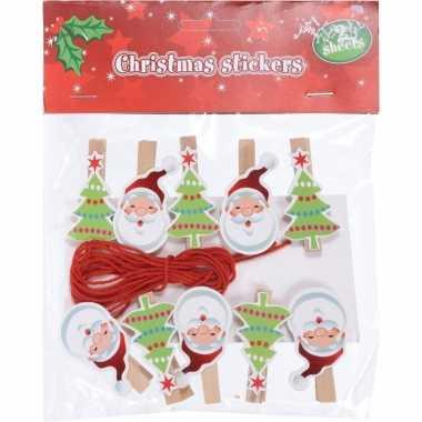 10x kerstkaart knijpers kerstman/kerstboom met ophangkoord