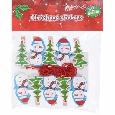 10x kerstkaart knijpers sneeuwpop/kerstboom met ophangkoord