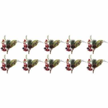 10x kerststukje instekertjes met bessen groen/rood 20 cm