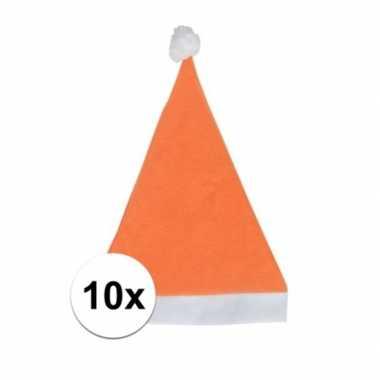 10x oranje budget kerstmuts voor volwassenen