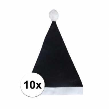 10x zwarte budget kerstmuts voor volwassenen