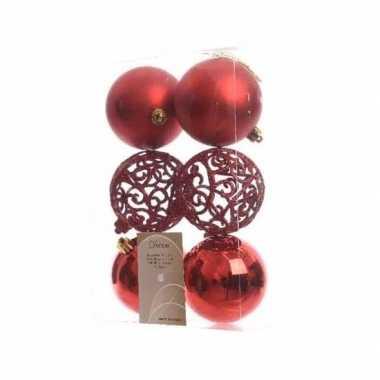12-delige kerstballen set 8 cm rood