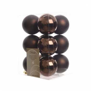 12-delige kerstballen set bruin