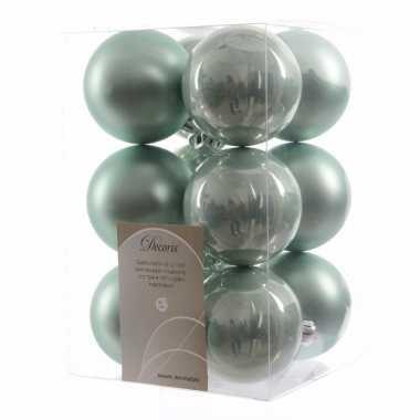 12-delige kerstballen set mint
