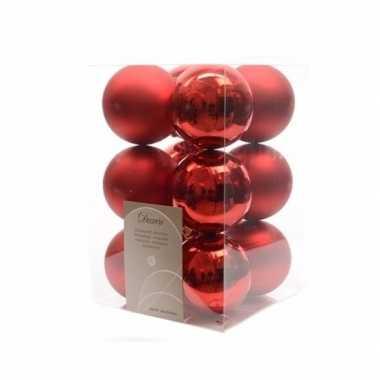12-delige kerstballen set rood