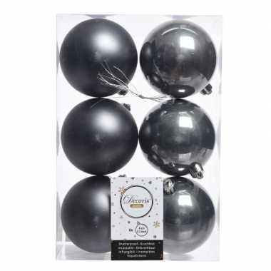 12x antraciet kerstballen van kunststof 8 cm