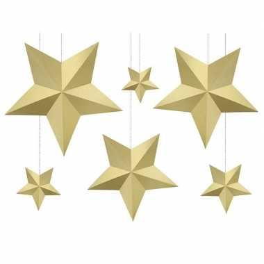 12x diy kerstboom hangers gouden sterren