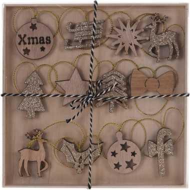 12x kerst hangdecoratie houten figuren bruin/goud glitters