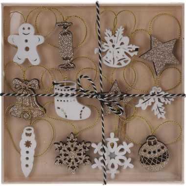 12x kerst hangdecoratie houten figuren wit/goud