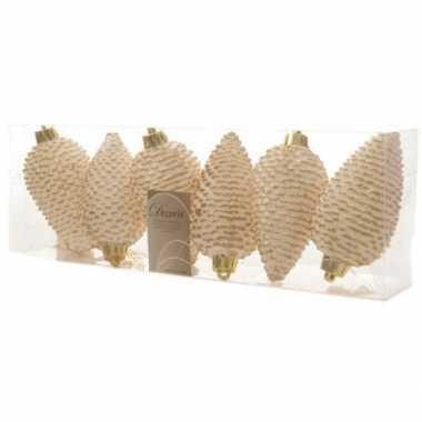 12x kerstboom hangers dennenappels goud