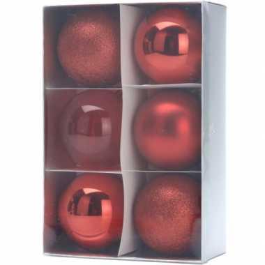 12x kerstboomdecoratie rode kerstballen 12 stuks