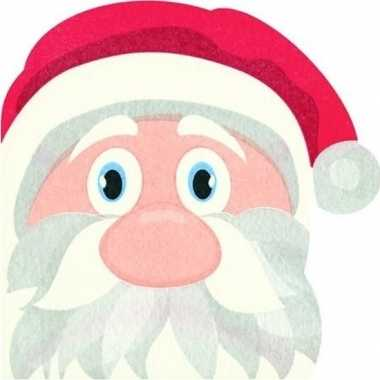12x kerstman/santa kerst servetten rood 33 cm