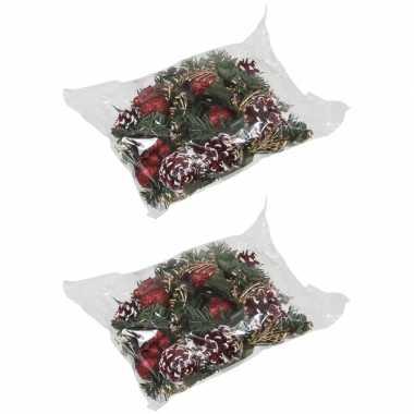 12x kerststukje decoraties rood 12 cm