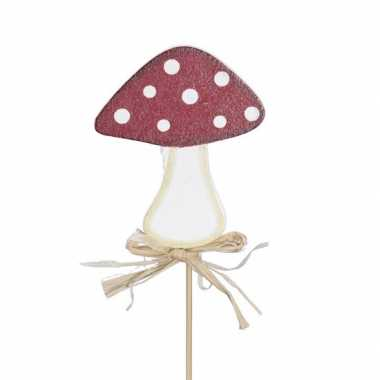 12x kerststukje instekertjes met paddenstoeltjes 6,5 cm