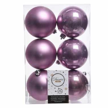 12x lila paarse kerstballen van kunststof 8 cm