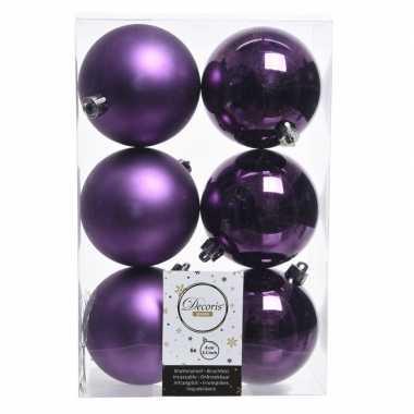 12x paarse kerstballen van kunststof 8 cm