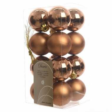 16-delige kerstballen set brons