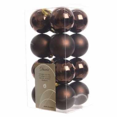 16-delige kerstballen set bruin