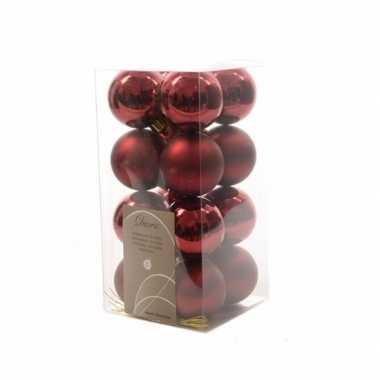 16-delige kerstballen set donker rood