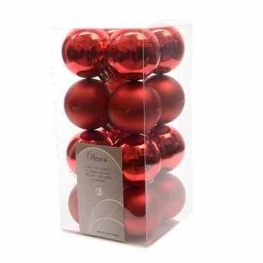 16-delige kerstballen set rood