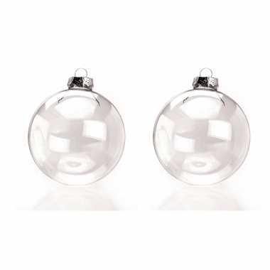 16x stuks glazen kerstballen transparant 10 cm
