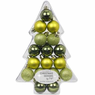 17x kunststof groene kleine kerstballen pakket 3 cm