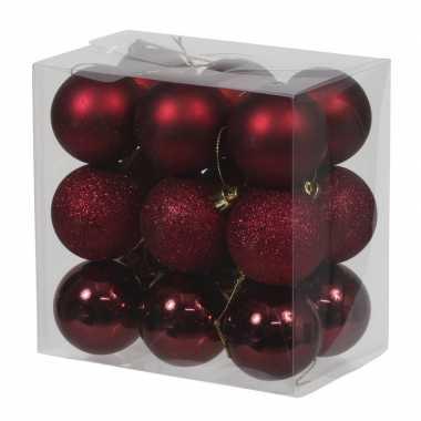18x donkerrode kunststof kerstballen 5 cm glans/mat/glitter