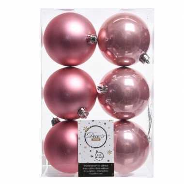 18x oud roze kerstballen van kunststof 8 cm