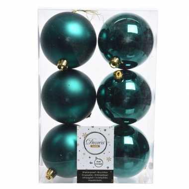 18x smaragd groen kerstballen van kunststof 8 cm
