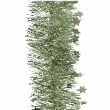 1x kerst lametta guirlandes salie groen glitters/glinsterendmet sterren 10 cm breed x 270 cm kerstboom versiering/decoratie