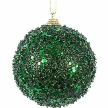 1x kerstballen donkergroene glitters 8 cm met glimmers kunststof kers