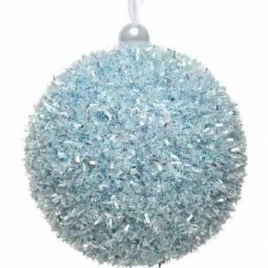 1x kerstballen ijsblauwe sneeuwbal 8 cm met glitterskunststof kerstbo