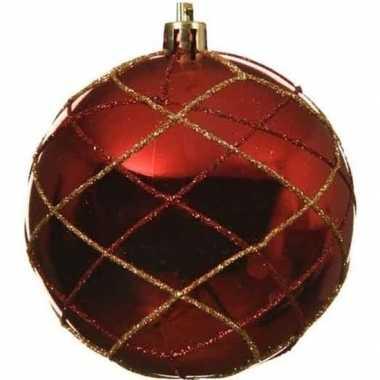 1x kerstballen kerst rood 8 cm met gouden glitters kunststof kerstboo