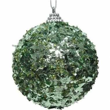 1x kerstballen mintgroen 8 cm met glimmende folie kunststof kerstboom