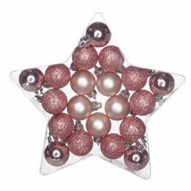 20-delige kerstballen set roze/glitter plastic