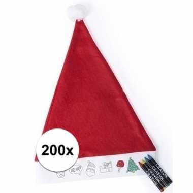 200x hobby kerstmuts inkleurbaar met waskrijtjes voor jongens/meisjes