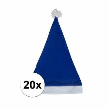 20x blauwe budget kerstmuts voor volwassenen
