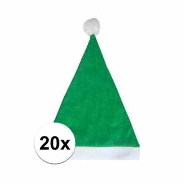 20x groene budget kerstmuts voor volwassenen