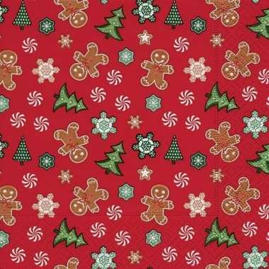 20x kerst servetten rood 33 cm peperkoek/gingerbread/kerstboom print