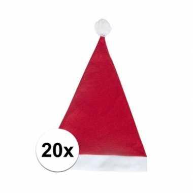 20x rode budget kerstmuts voor volwassenen