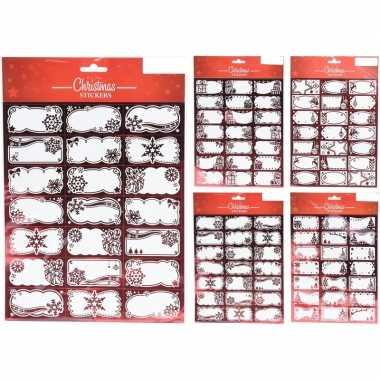 210x kerstcadeautjes naamstickers/naam etiketten rood