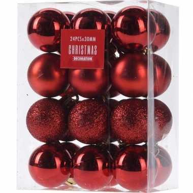 24x glans/mat/glitter kerstballen rood 3 cm kunststof kerstboom versiering/decoratie